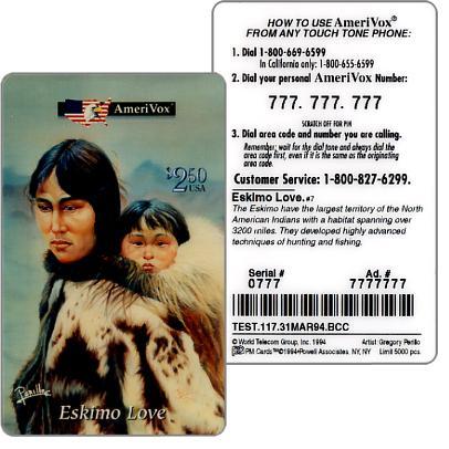 The Phonecard Shop: U.S.A., Amerivox - Eskimo love, TEST CARD, $2.50