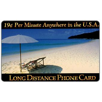 Phonecard for sale: New Media Telecommunications - Beach, 19 c. per minute Anywhere in the U.S.A.