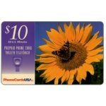 The Phonecard Shop: U.S.A., PhoneCardsUSA - Butterfly over sunflower, $10
