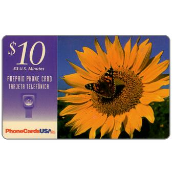 Phonecard for sale: PhoneCardsUSA - Butterfly over sunflower, $10
