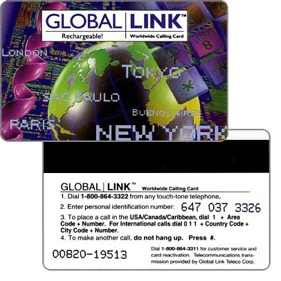 Phonecard for sale: Global Link - Rechargeable, town names