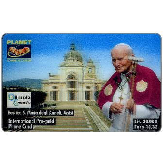 Phonecard for sale: Planet Communication - Giovanni Paolo II - Basilica S.Maria degli Angeli, 3D card, L.20000