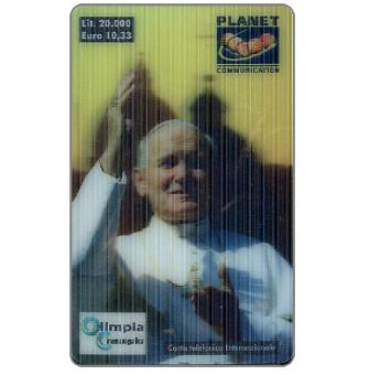 Phonecard for sale: Planet Communication - Pope Giovanni Paolo II, 3D card, L.20000