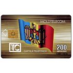 Phonecard for sale: First issue, Moldova flag, Moldtelecom building, 09.94, 200 units