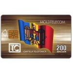 The Phonecard Shop: Moldova, Fourth issue, Moldova flag, Moldtelecom building, 12.97, 200 units