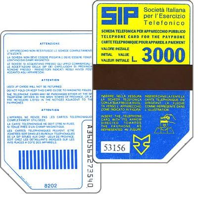 The Phonecard Shop: Italy, Sip, Sida 2, second group, 8202, L.3000
