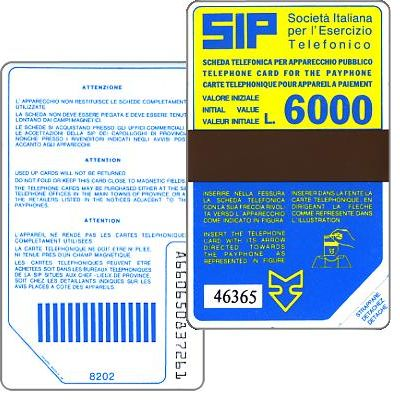 The Phonecard Shop: Italy, Sip, Sida 2, second group, 8202, L.6000