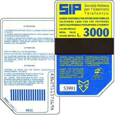 The Phonecard Shop: Italy, Sip, Sida 2, second group, 8503, L.3000