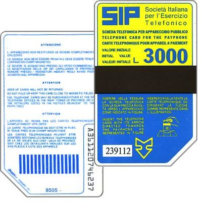 The Phonecard Shop: Italy, Sip, Sida 2, second group, 8505, L.3000