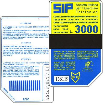 The Phonecard Shop: Italy, Sip, Sida 2, second group, 8506, L.3000
