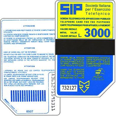 The Phonecard Shop: Italy, Sip, Sida 2, second group, 8507, L.3000