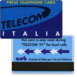 The Phonecard Shop: Italy, Press telephone card, Geneve Telecom '91