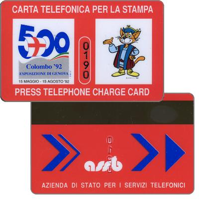Press telephone card, Colombo '92 Genova
