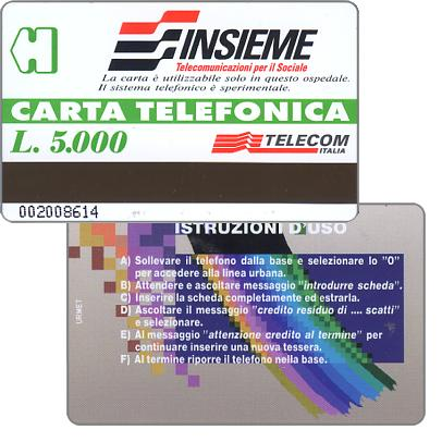 Insieme, experimental card for use in hospitals, L. 5.000