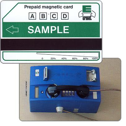 Urmet sample card, blue phone and Urmet logo