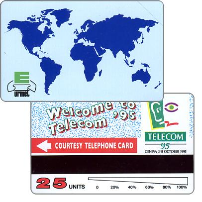 Welcome to Telecom '95, courtesy telephone card, 25 units