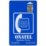 The Phonecard Shop: Burkina Faso, Onatel Logo, chip SC-7 Afnor, 20 units