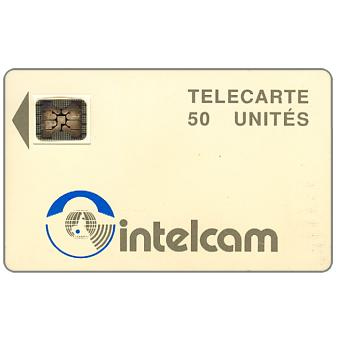 The Phonecard Shop: Intelcam logo, large arrow, chip SC-4 SB Afnor Ø6 with frame, 50 units