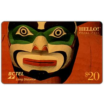 Phonecard for sale: BC Tel - Native Series, Mask, $20