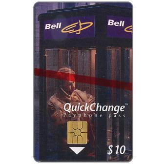 Phonecard for sale: Bell QuickChange - First issue, man in Phone booth, $10