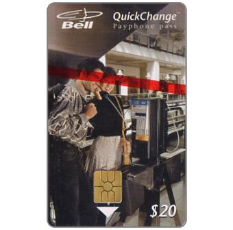 Phonecard for sale: Bell QuickChange - First issue, couple at pay phone, $20
