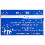 """The Phonecard Shop: Chad, Blue & silver, """"P"""" of """"Postes"""" over """"R"""" of """"REPUBLIQUE"""", 105B, 60 units"""
