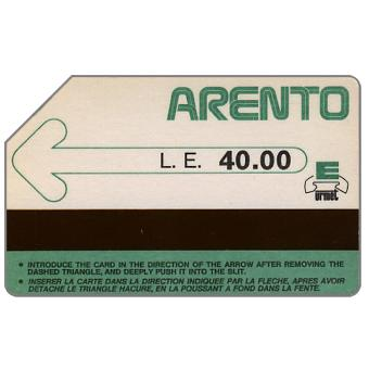 Green arrow, cardboard, printer Mantegazza, L.E.40