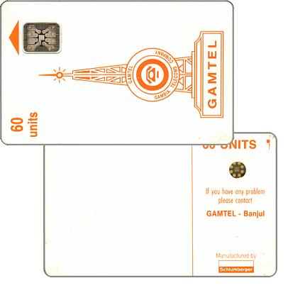 The Phonecard Shop: Gamtel logo, reverse 1 (without box around code), chip SC-4 Afnor Ø6, 60 units