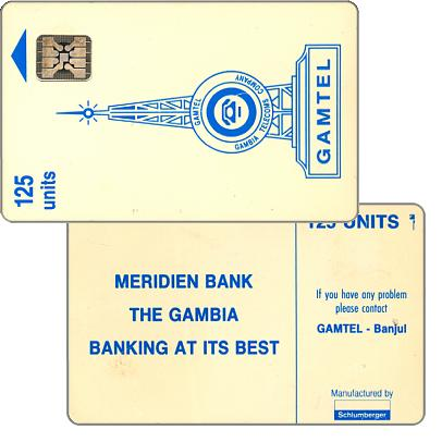 "Gamtel logo, reverse 2 (""Meridien Bank""), chip SC-4 Afnor, 125 units"