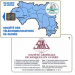 The Phonecard Shop: First issue, map of Guinea, bank advertising on back, chip SC-5, 50 units