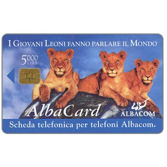 Albacom, first issue, three lions, L. 5.000