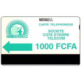 CI Telecom - Green logo, notched, 1000 FCFA