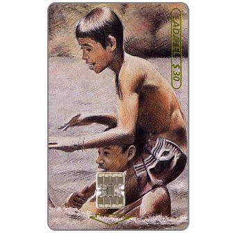 The Phonecard Shop: Mexico, Ladatel,  Children Playing, paintings by Sergio Kopileovich, Doa Libre en Barra Vieja, $30