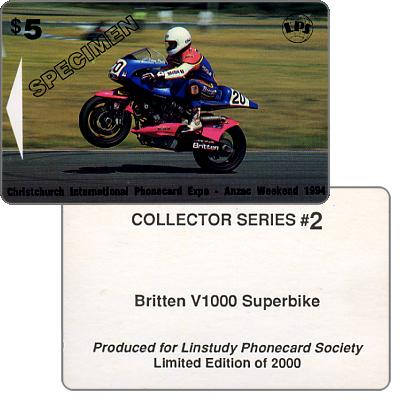 The Phonecard Shop: Christchurch International Phonecard Expo, Britten V1000 Superbike #2, specimen, $5