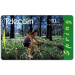 The Phonecard Shop: New Zealand, Four Seasons, Spring, girl on bicycle, $10
