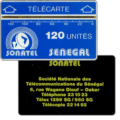 First issue, Sonatel logo and advertising on back, no notch, 2mm. band, code 00+6 digits, 120 units