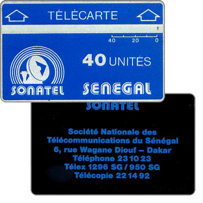 Sonatel logo and advertising on back, no notch, 708A, 40 units