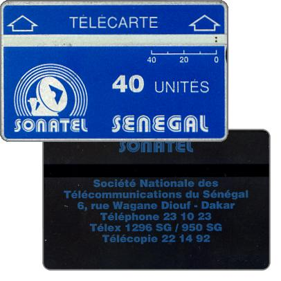 The Phonecard Shop: Sonatel logo and advertising on back, 905A, 40 units