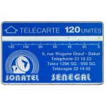 The Phonecard Shop: Sonatel logo, plain back, 001A, 120 units