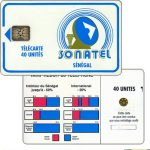 The Phonecard Shop: Senegal, Blue frame and logo, chip SC-5 Ø6, 40 units