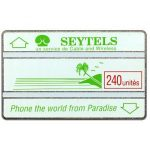 The Phonecard Shop: Seychelles, First issue, green palm & slogan, missing code, 240 units