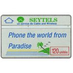 The Phonecard Shop: Green palm & blue slogan, 910G, 120 units