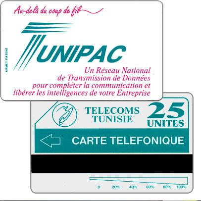 "Tunisie Telecom - Tunipac, ""Telefonique"" (error) on back, 25 units"