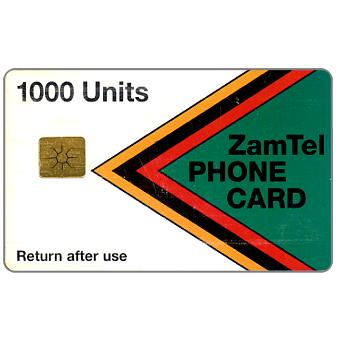 Phonecard for sale: Zamtel - First issue, rechargeable chip, 1000 units