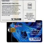 The Phonecard Shop: Argentina, Telecom Argentina - Fibre optics, Servicio Factel, no price on back, 100 pulsos