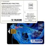 The Phonecard Shop: Argentina, Telecom Argentina - Fibre optics, Servicio Factel, with price on back, 100 pulsos
