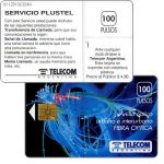 The Phonecard Shop: Argentina, Telecom Argentina - Fibre optics, Servicio Plustel, with price on back, 100 pulsos
