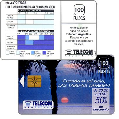 Phonecard for sale: Telecom Argentina - Palm tree, text under control number, 100 pulsos