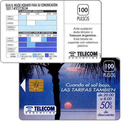 Phonecard for sale: Telecom Argentina - Palm tree, control number under text, 100 pulsos