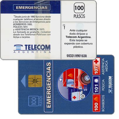 Phonecard for sale: Telecom Argentina - Emergencies, without price on back, 100 pulsos
